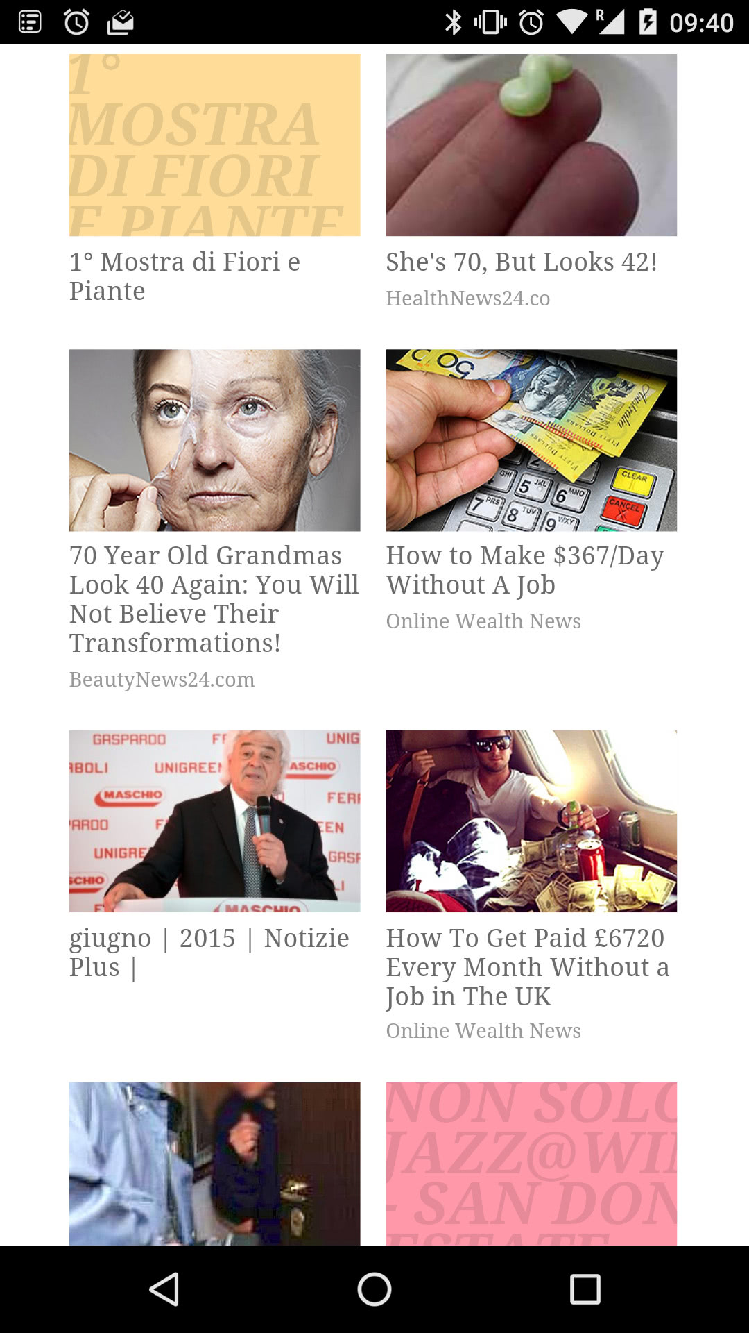 """An example of sponsored content on an Italian local newspaper. Half of the links are borderline scams like """"How to make $367/Day Without A Job""""."""