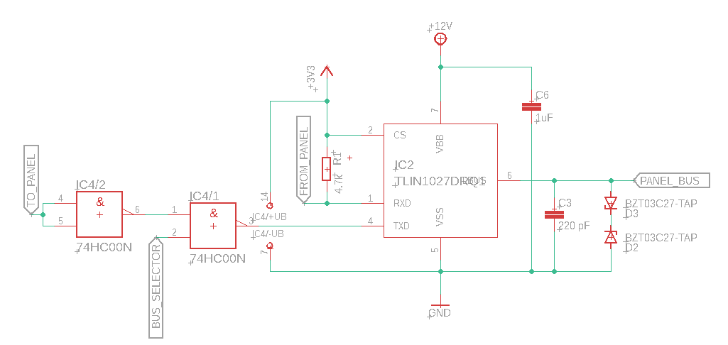 A schematic diagram of the Panel-side bus transceiver block.